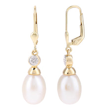 Load image into Gallery viewer, 9ct Yellow Gold, 0.01ct Diamonds with White Cultured pearl Earrings