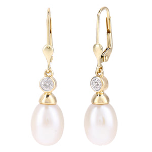 9ct Yellow Gold, 0.01ct Diamonds with White Cultured pearl Earrings