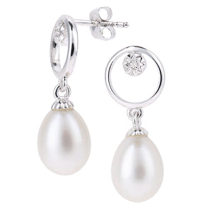 9ct White Gold, 0.01ct Diamonds with White Cultured pearl Earrings