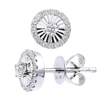 Load image into Gallery viewer, 18ct White Gold Diamond Cut Circle Studs Earrings