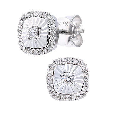 18ct White Gold Diamond Cut Square Studs Earrings