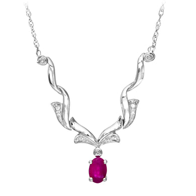 9ct White Gold Diamond and Ruby Ladies Necklace