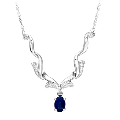 9ct White Gold Diamond and Sapphire Ladies Necklace