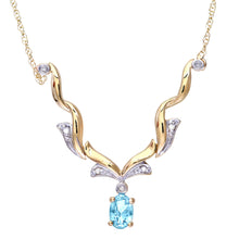 Load image into Gallery viewer, 9ct Yellow Gold Diamond and Blue Topaz Ladies Necklace
