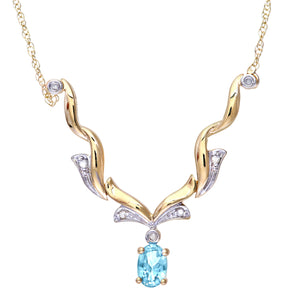 9ct Yellow Gold Diamond and Blue Topaz Ladies Necklace