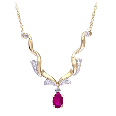 9ct Yellow Gold Diamond and Ruby Ladies Necklace