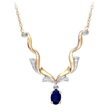 9ct Yellow Gold Diamond and Sapphire Ladies Necklace