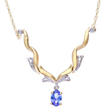 Load image into Gallery viewer, 9ct Yellow Gold Tanzanite and Diamond Wave Necklace