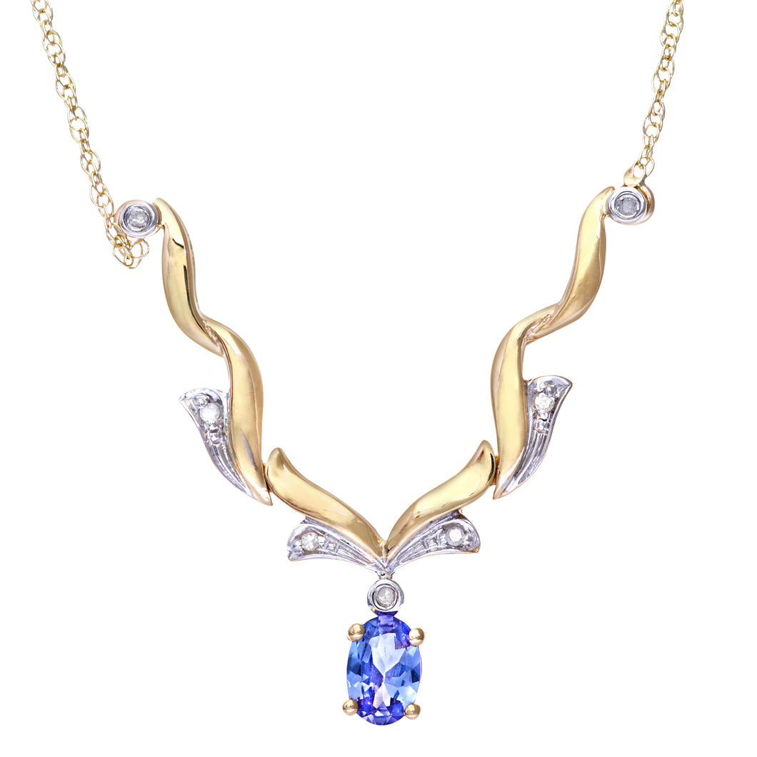 9ct Yellow Gold Tanzanite and Diamond Wave Necklace