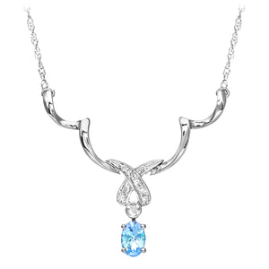 9ct White Gold Diamond and Blue Topaz Ladies Necklace