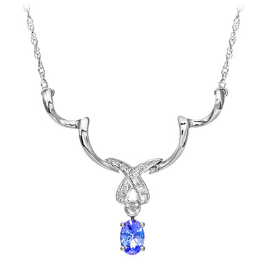9ct White Gold Tanzanite and Diamond Kiss Necklace