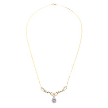 Load image into Gallery viewer, 9ct Yellow Gold Tanzanite and Diamond Fig 8 Style Necklace