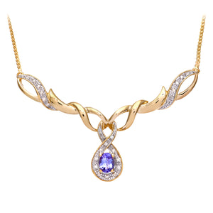 9ct Yellow Gold Tanzanite and Diamond Fig 8 Style Necklace