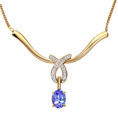 9ct Yellow Gold Tanzanite Crossover Drop Necklace with Diamond
