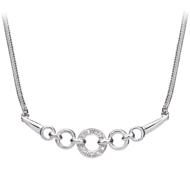 Ladies 9ct White Gold Fancy Circles Diamond Necklace