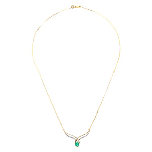 9ct Yellow Gold Diamond and Emerald Ladies Necklace