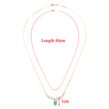 Load image into Gallery viewer, 9ct Yellow Gold Diamond and Emerald Ladies Necklace