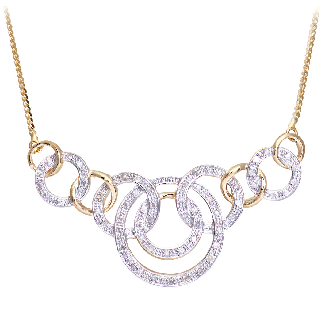 9ct Yellow Gold Diamond Ladies Necklace