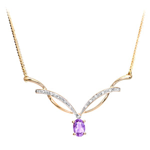 9ct Yellow Gold Diamond and Amethyst Ladies Necklace