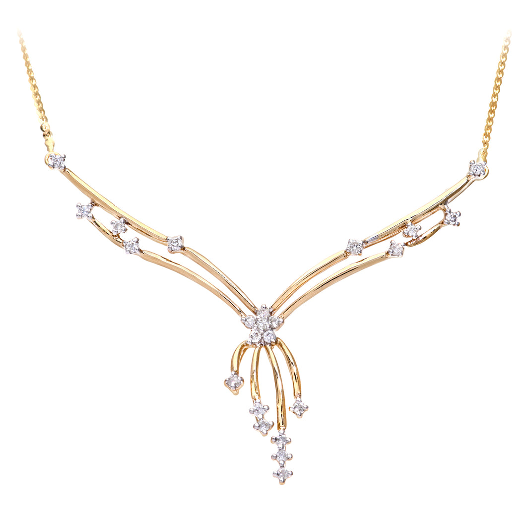 9ct Yellow Gold Ladies Diamond Necklace