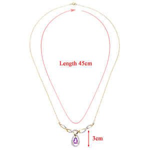9ct Yellow Gold Ladies Diamond and Amethyst Necklace