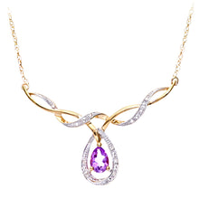 Load image into Gallery viewer, 9ct Yellow Gold Ladies Diamond and Amethyst Necklace