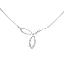 Load image into Gallery viewer, Ladies 9ct White Gold Fancy Twist Diamond Necklace