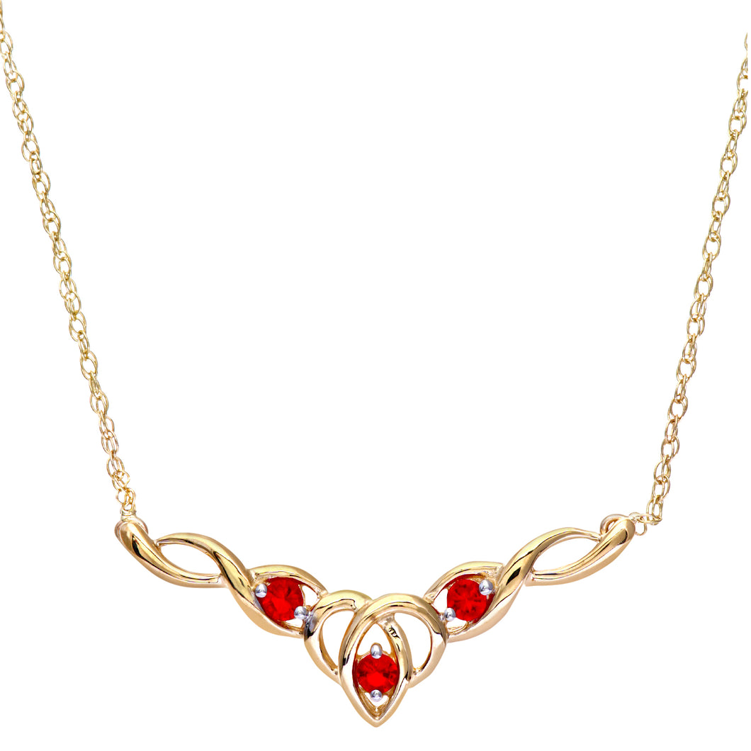9ct Yellow Gold Created Ruby Celtic Style Necklace + 18