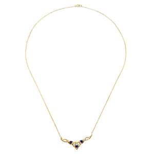 "9ct Yellow Gold Sapphire Celtic Style Necklace + 18"" Pow Chain"