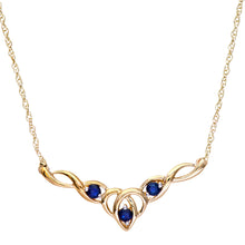 "Load image into Gallery viewer, 9ct Yellow Gold Sapphire Celtic Style Necklace + 18"" Pow Chain"