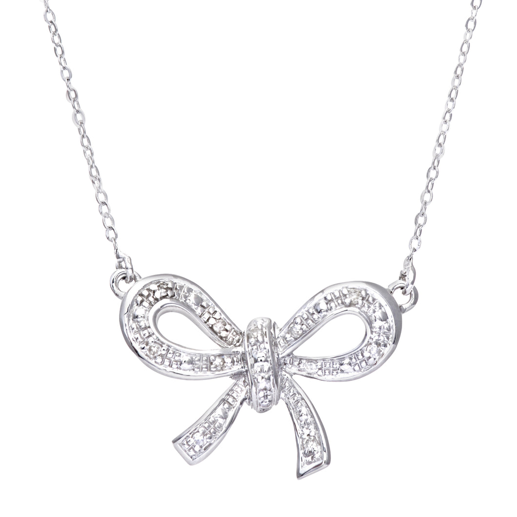 9ct White Gold Diamond Classic Bow Necklace of 46cm