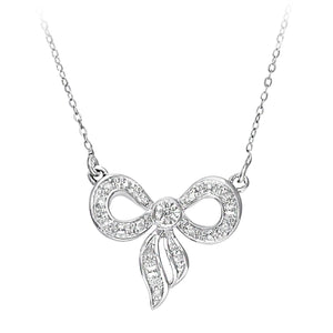 9ct White Gold 0.05ct Diamond Bow Necklace of 46cm