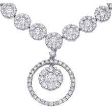 Load image into Gallery viewer, 18ct White Gold Halo Set Diamond Certified G/SI1 Round Drop Necklace of 46cm