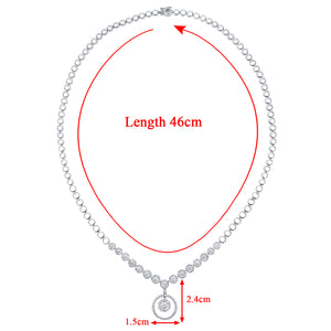 18ct White Gold Halo Set Diamond Certified G/SI1 Round Drop Necklace of 46cm