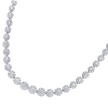 Load image into Gallery viewer, 18ct White Gold Spectacular Halo Set 7.50ct Diamonds Certified G/SI1 Single Strand Necklace of 46 cm