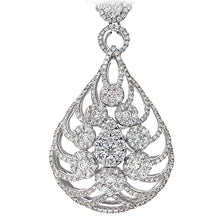 Load image into Gallery viewer, 18ct Round Brilliant White Gold Exquisite 6.00ct Diamond Filled Certified G/SI1 Flame Necklace of 42cm