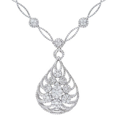 18ct Round Brilliant White Gold Exquisite 6.00ct Diamond Filled Certified G/SI1 Flame Necklace of 42cm