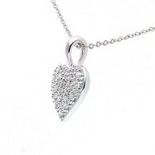 "Load image into Gallery viewer, 9ct White Gold Pave Set Diamond Heart Pendant and 18"" Chain"