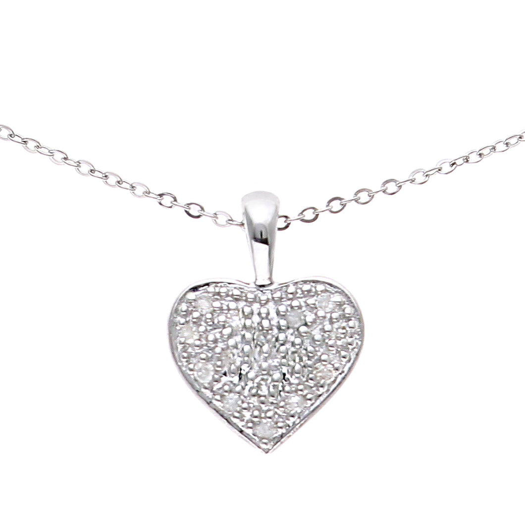 9ct White Gold Pave Set Diamond Heart Pendant and 18