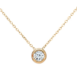 "9ct Yellow Gold Rub Set 0.15ct Diamond Pendant and 18"" Chain"
