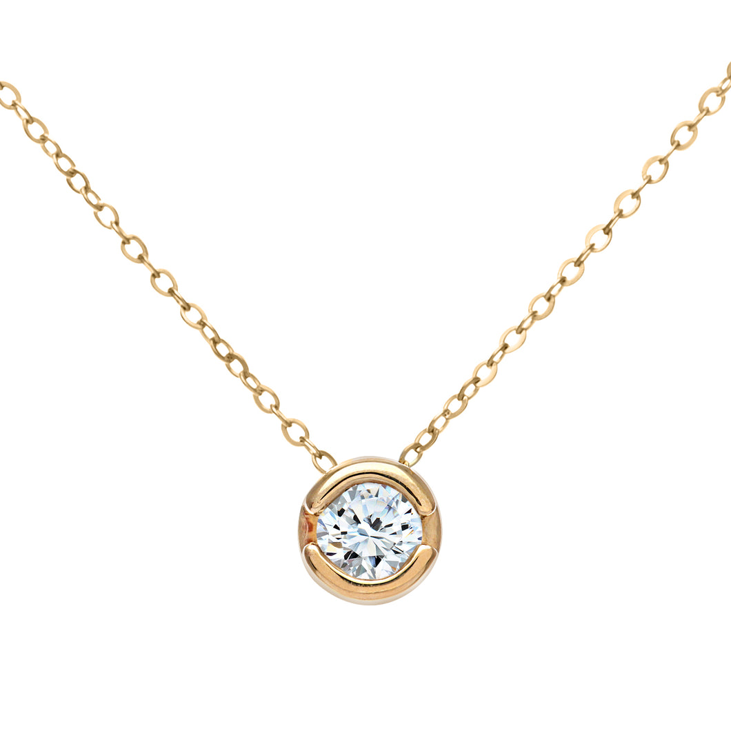 9ct Yellow Gold Rub Set 0.15ct Diamond Pendant and 18