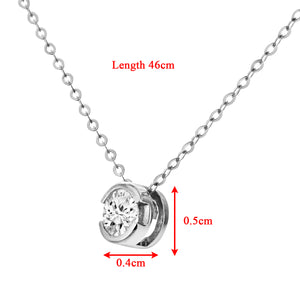 "9ct White Gold Rub Set Quarter Carat Diamond Pendant and 18"" Chain"