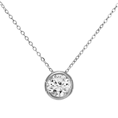 9ct White Gold Rub Set Half Carat Diamond Pendant and 18