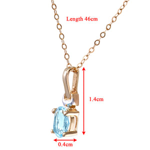 "9ct Yellow and White Gold Ladies Blue Topaz Birth Stone Pendant + 18"" Yellow Gold Trace Chain"