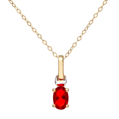 9ct Yellow and White Gold Ladies Cubic Zirconia Created Ruby Birth Stone Pendant + 16