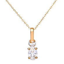 "Load image into Gallery viewer, 9ct Yellow and White Gold Ladies Cubic Zirconia  Birth Stone Pendant + 16"" Yellow Gold Trace Chain"