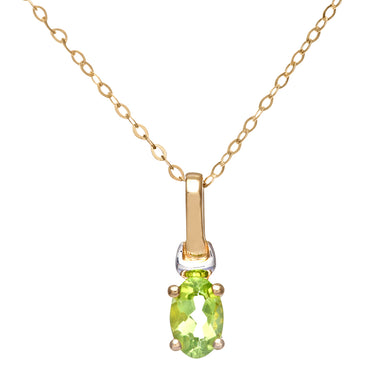 9ct Yellow and White Gold Ladies Peridot Birth Stone Pendant + 16