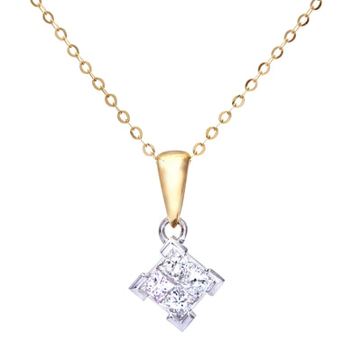 Ladies 9ct Yellow and White Gold 0.33ct Princess Cut Diamonds Pendant + 18