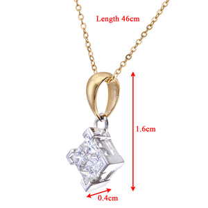 "Ladies 9ct Yellow and White Gold 0.50ct Princess Cut Diamonds Pendant + 18"" Trace Chain"