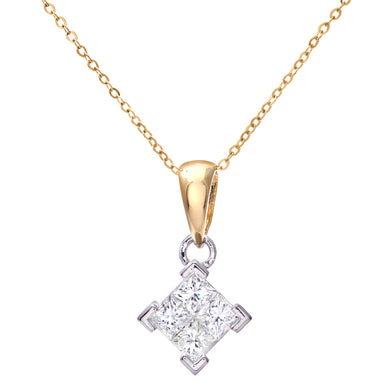 Ladies 9ct Yellow and White Gold 0.50ct Princess Cut Diamonds Pendant + 18